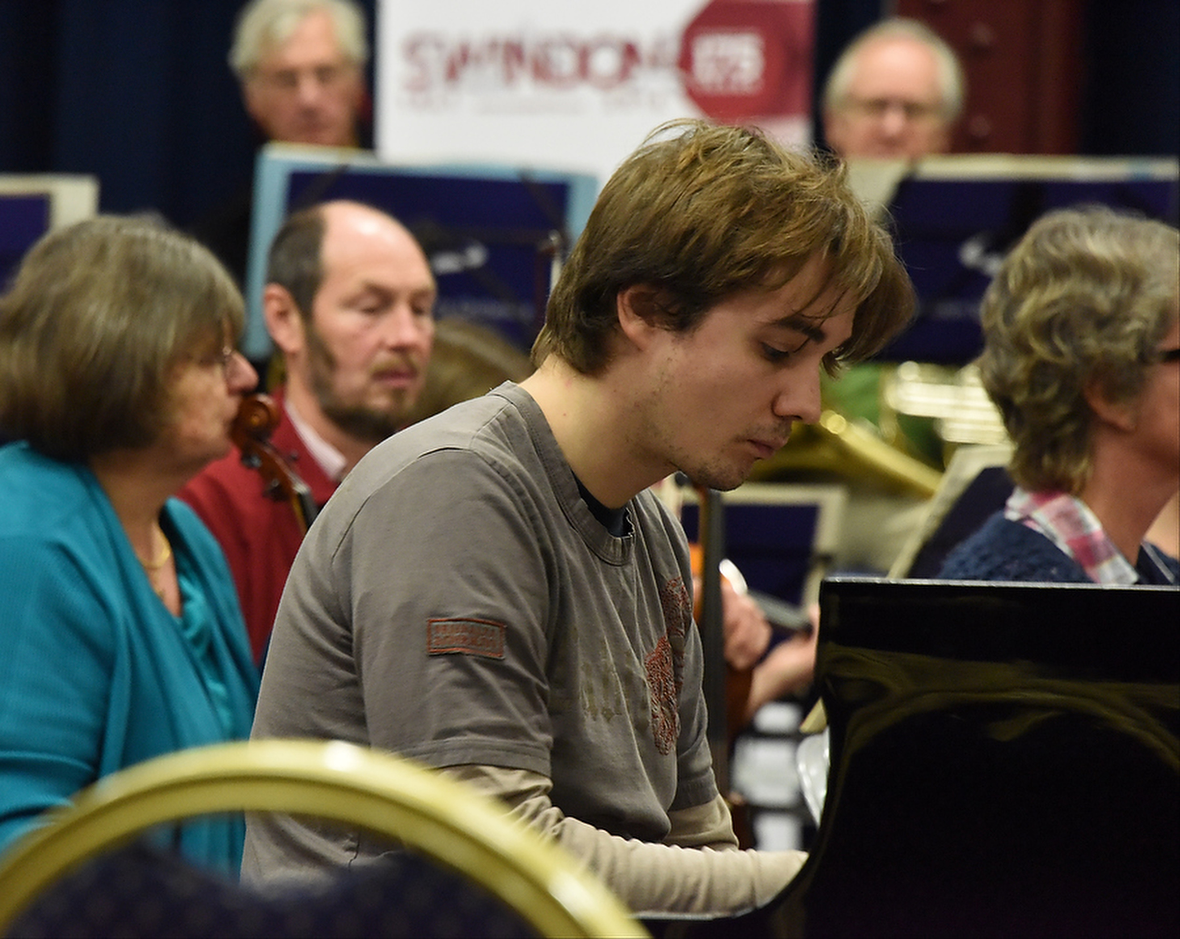 Soloist, Daniel Lebhardt at STEAM Museum for the Swindon 175 concert playing Rachmaninov Piano Concerto No. 2